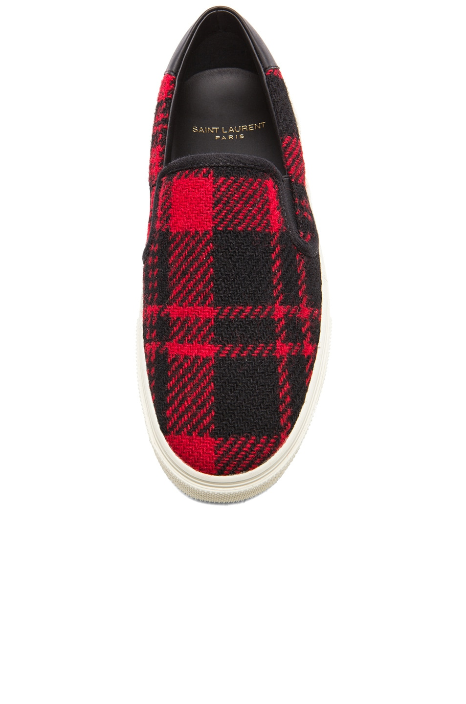 Image 4 of Saint Laurent Tweed Skate Slip-On Sneakers in Red & Black