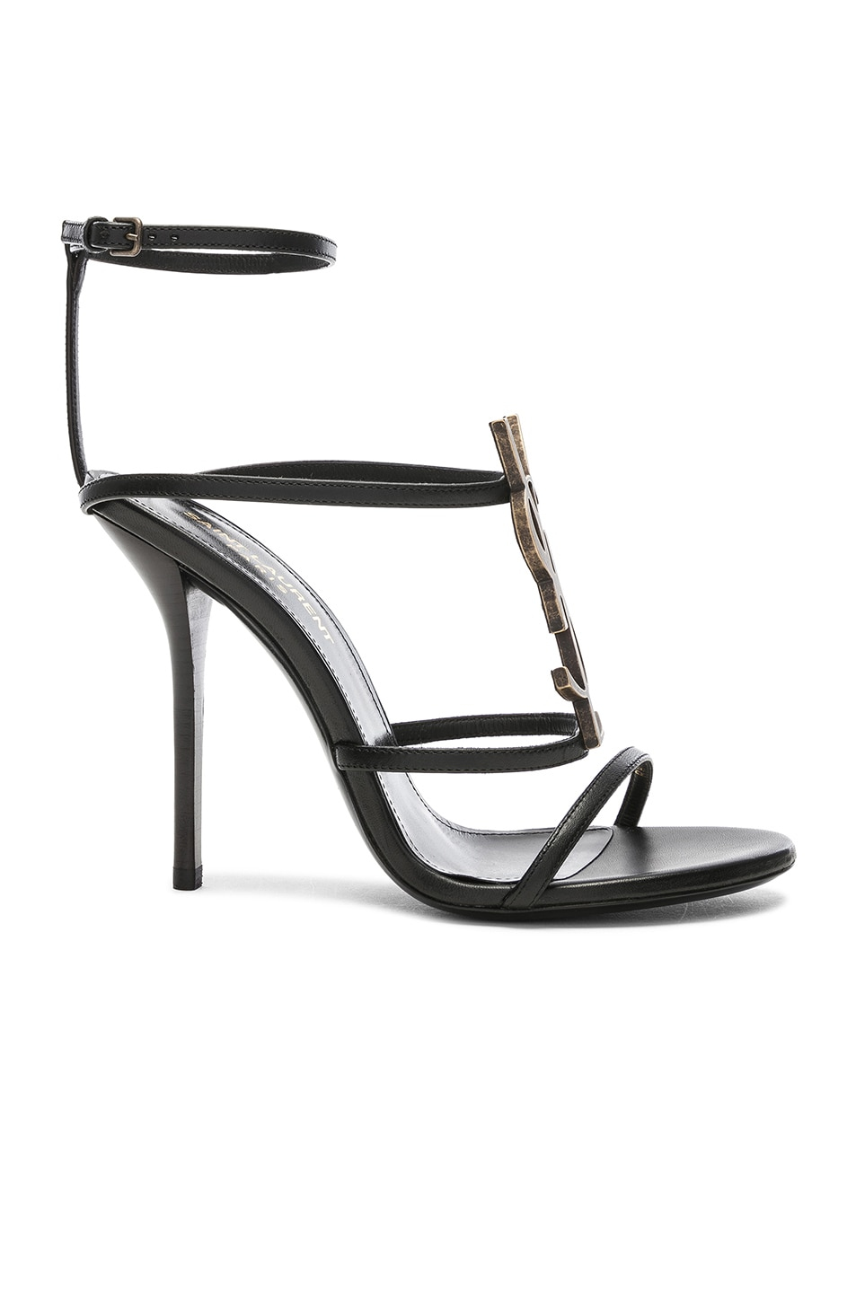 Image 1 of Saint Laurent Cassandra Monogramme Sandals in Black