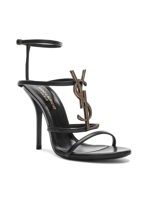 Image 2 of Saint Laurent Cassandra Monogramme Sandals in Black