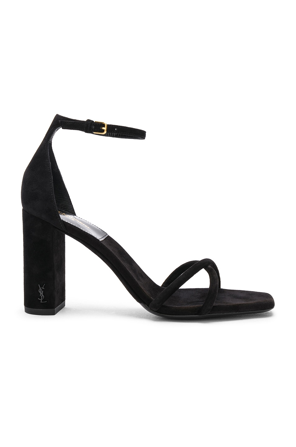 Image 1 of Saint Laurent Suede Pin Loulou Ankle Strap Sandals in Black
