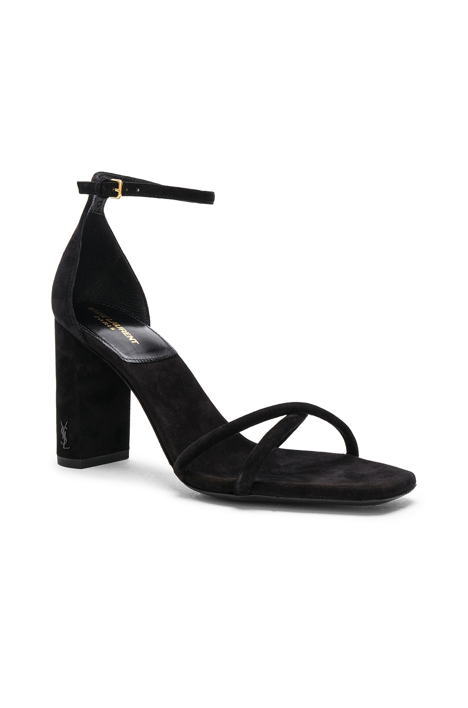 Image 2 of Saint Laurent Suede Pin Loulou Ankle Strap Sandals in Black