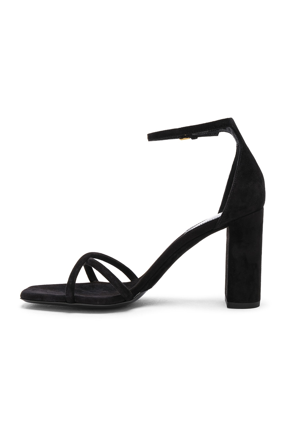 Image 5 of Saint Laurent Suede Pin Loulou Ankle Strap Sandals in Black