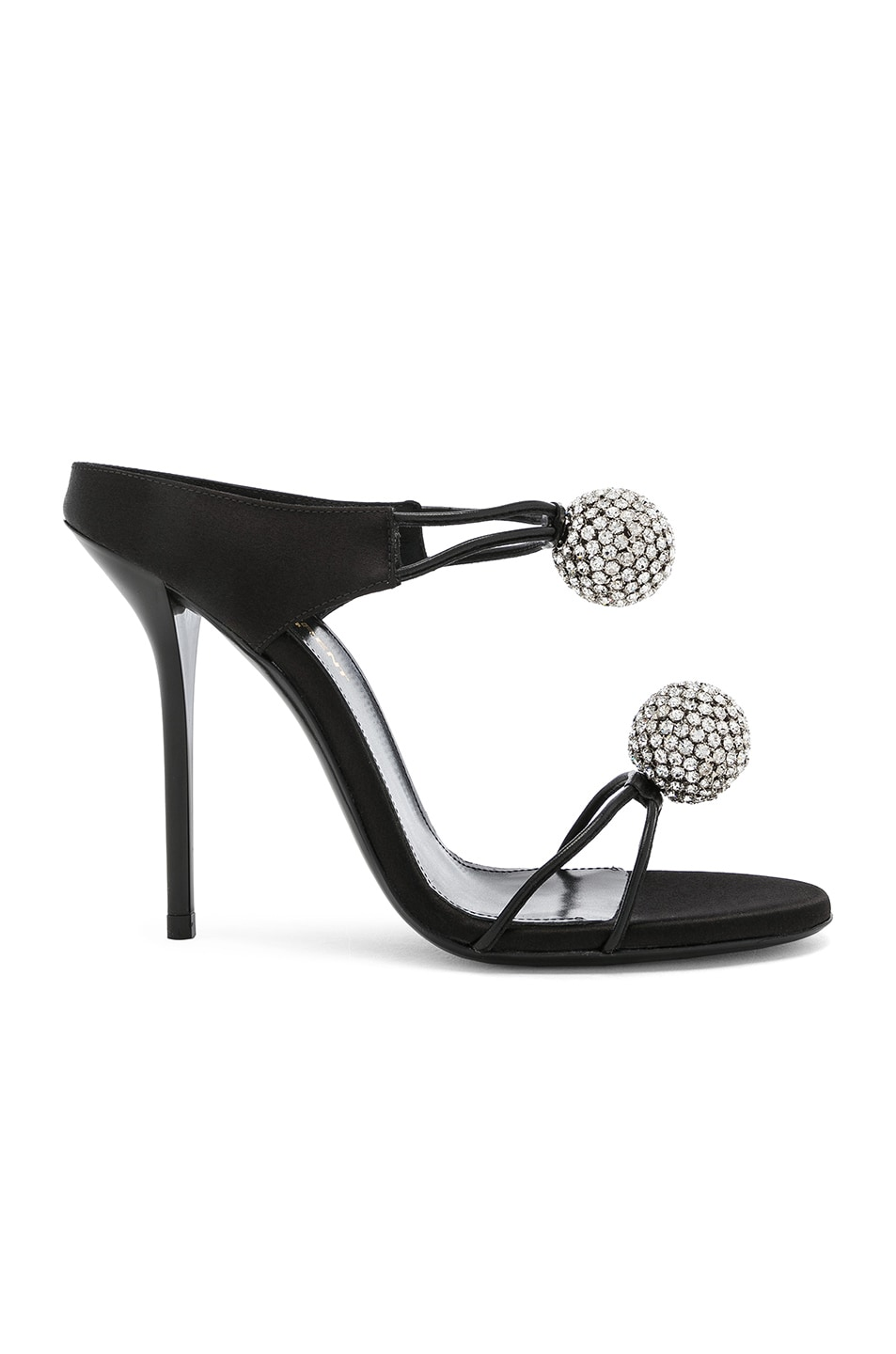 Image 1 of Saint Laurent Satin Pom Pom Strap Pierre Sandals in Black