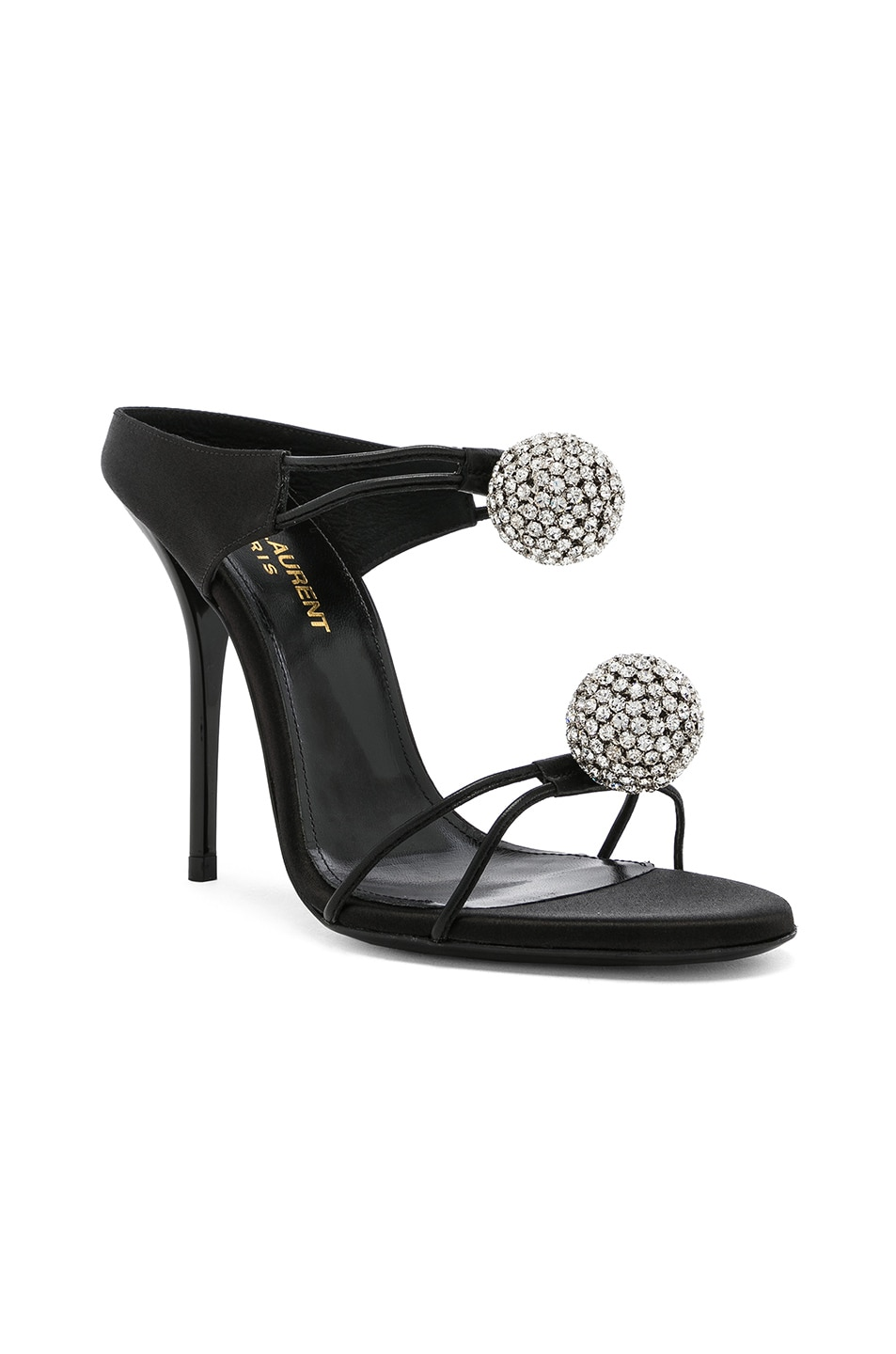Image 2 of Saint Laurent Satin Pom Pom Strap Pierre Sandals in Black