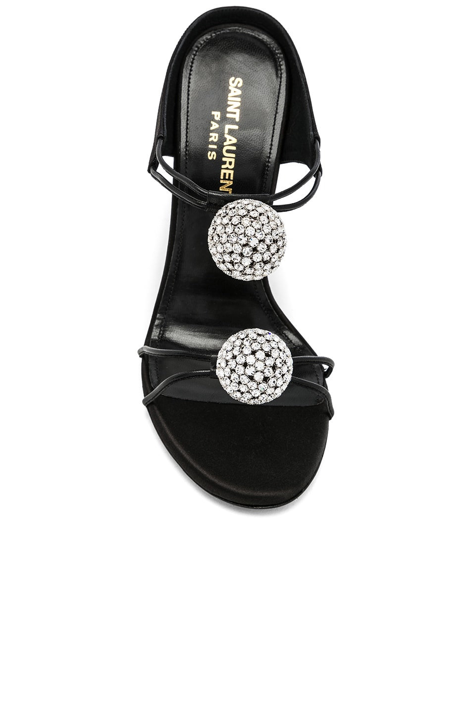 Image 4 of Saint Laurent Satin Pom Pom Strap Pierre Sandals in Black