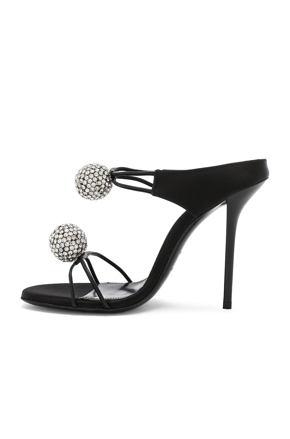 Image 5 of Saint Laurent Satin Pom Pom Strap Pierre Sandals in Black