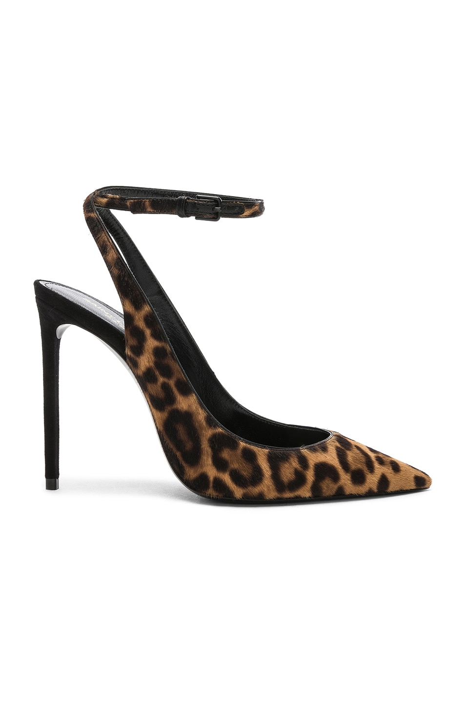 Image 1 of Saint Laurent Leopard Print Calf Hair Zoe Slingback Pumps in Natural & Black