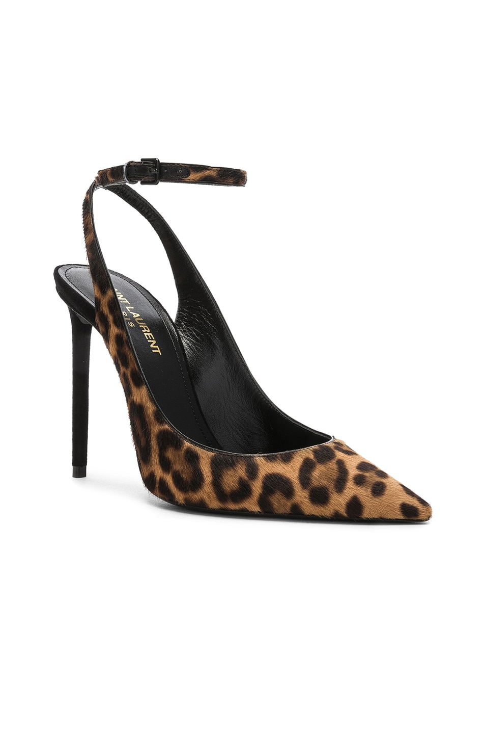 Image 2 of Saint Laurent Leopard Print Calf Hair Zoe Slingback Pumps in Natural & Black