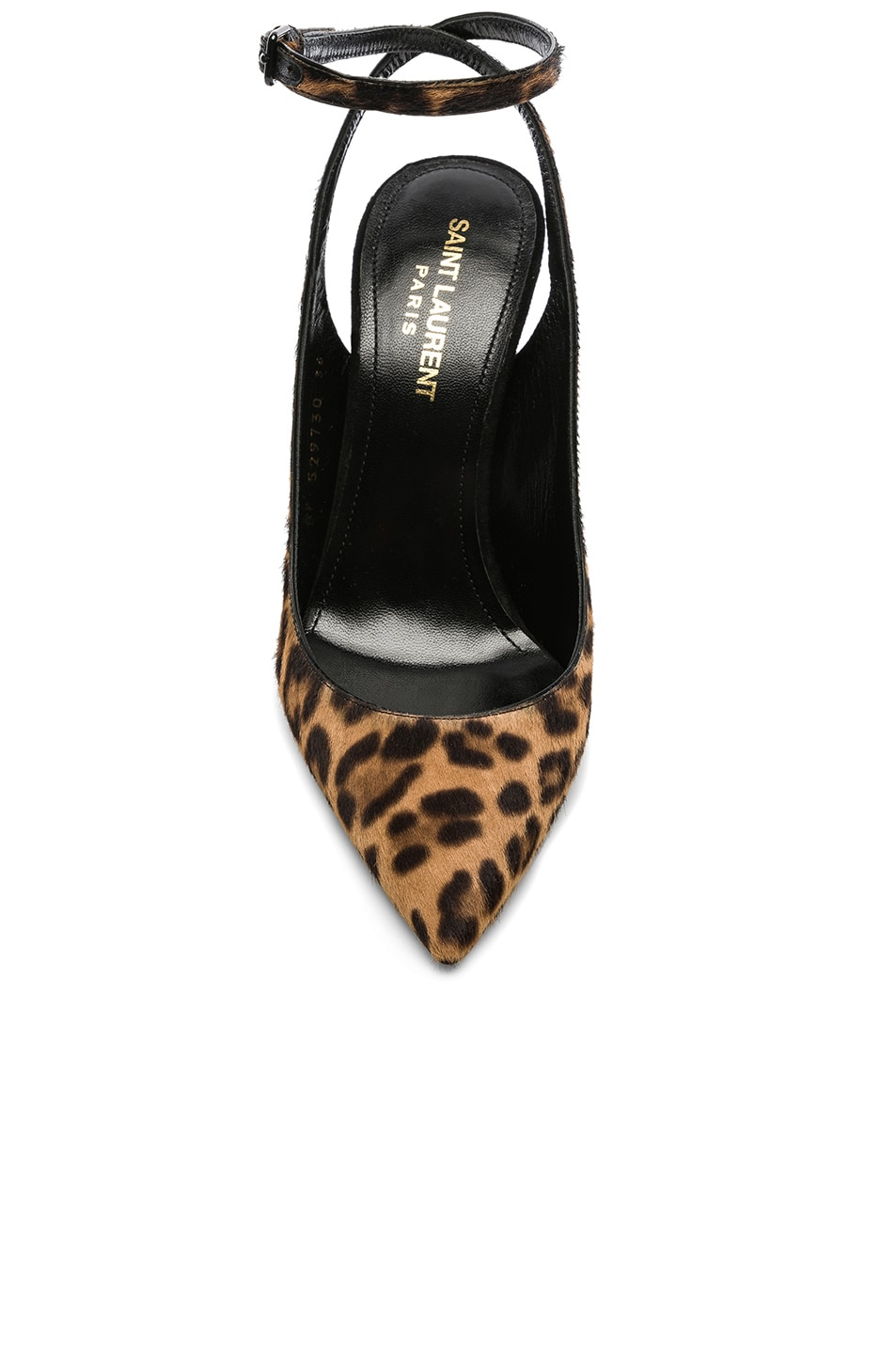 Image 4 of Saint Laurent Leopard Print Calf Hair Zoe Slingback Pumps in Natural & Black