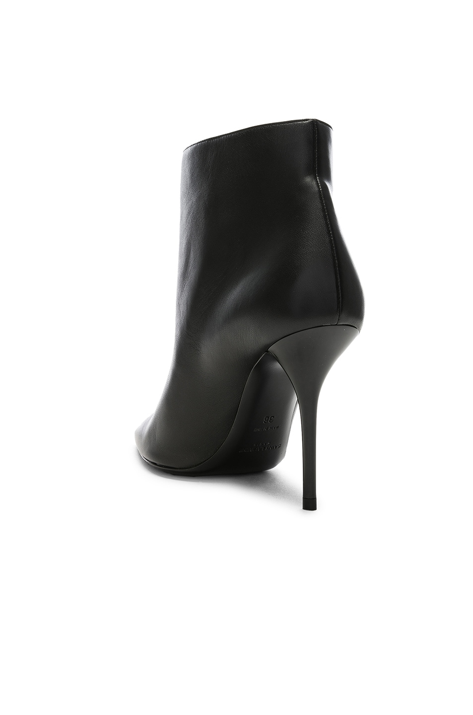 Image 3 of Saint Laurent Leather Pierre Stiletto Ankle Boots in Black