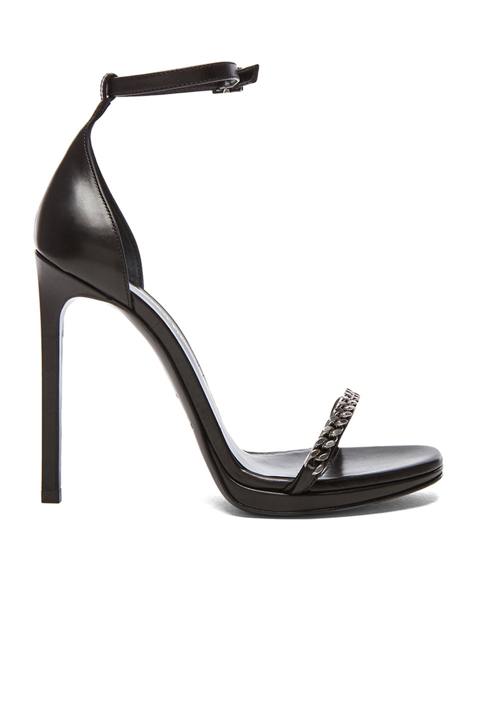 Image 1 of Saint Laurent Jane Chain Leather Ankle Strap Sandals in Black