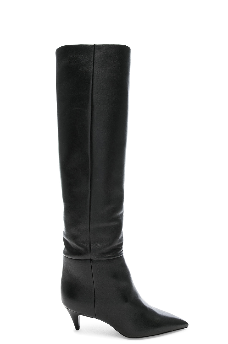 Image 1 of Saint Laurent Leather Charlotte Kitten Heel Knee High Boots in Black