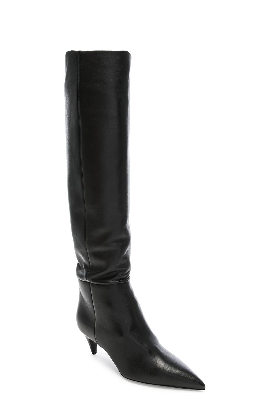 Image 2 of Saint Laurent Leather Charlotte Kitten Heel Knee High Boots in Black