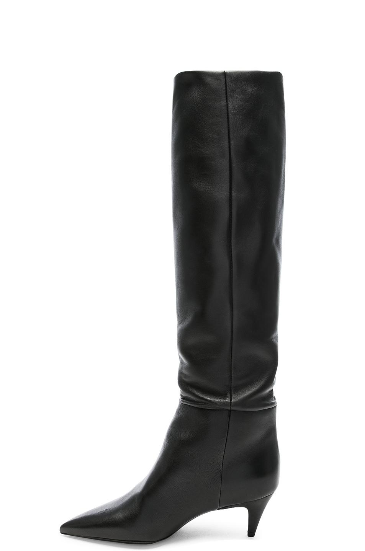 Image 5 of Saint Laurent Leather Charlotte Kitten Heel Knee High Boots in Black