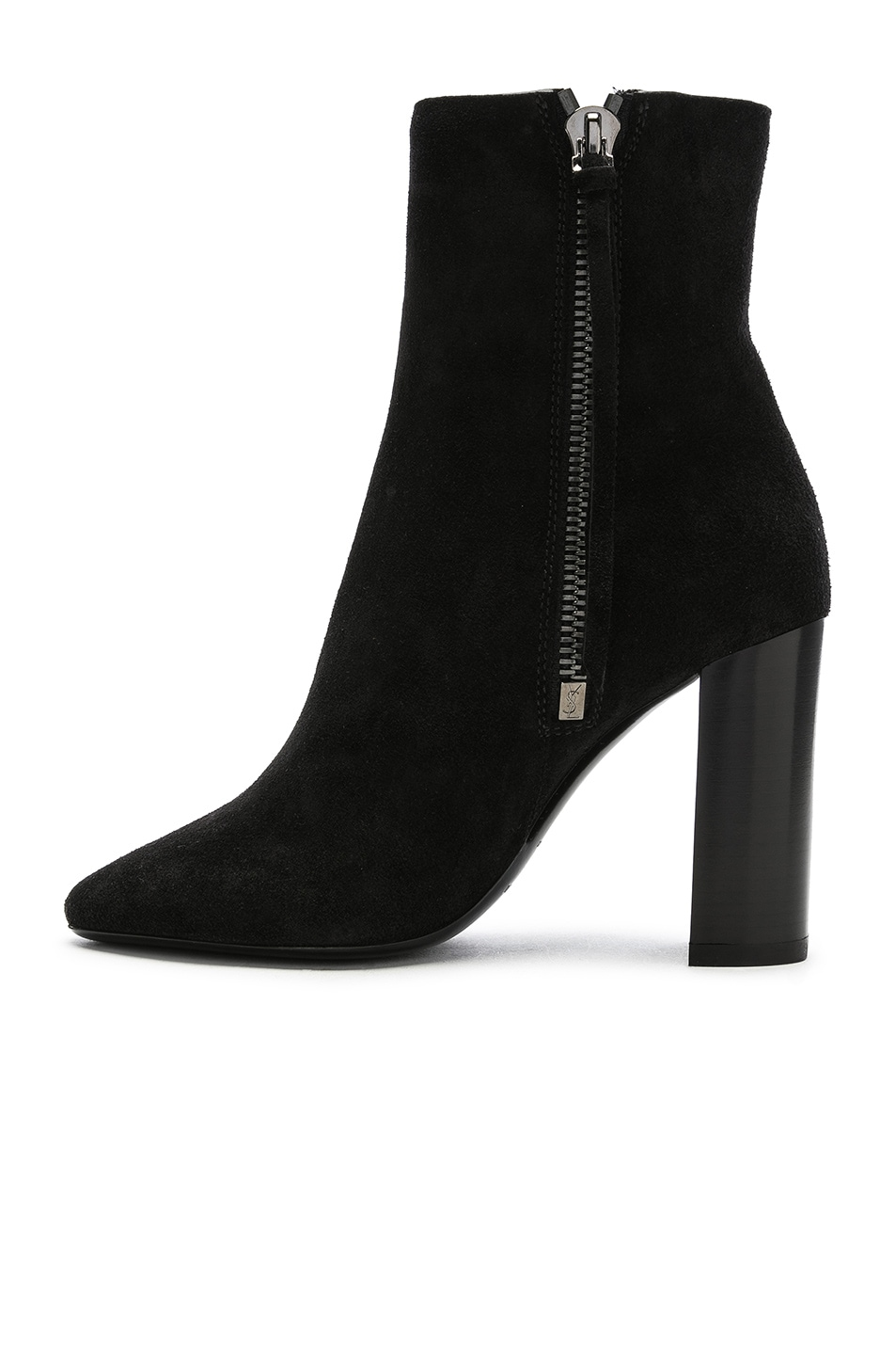 Image 5 of Saint Laurent Suede Lou Ankle Boots in Black