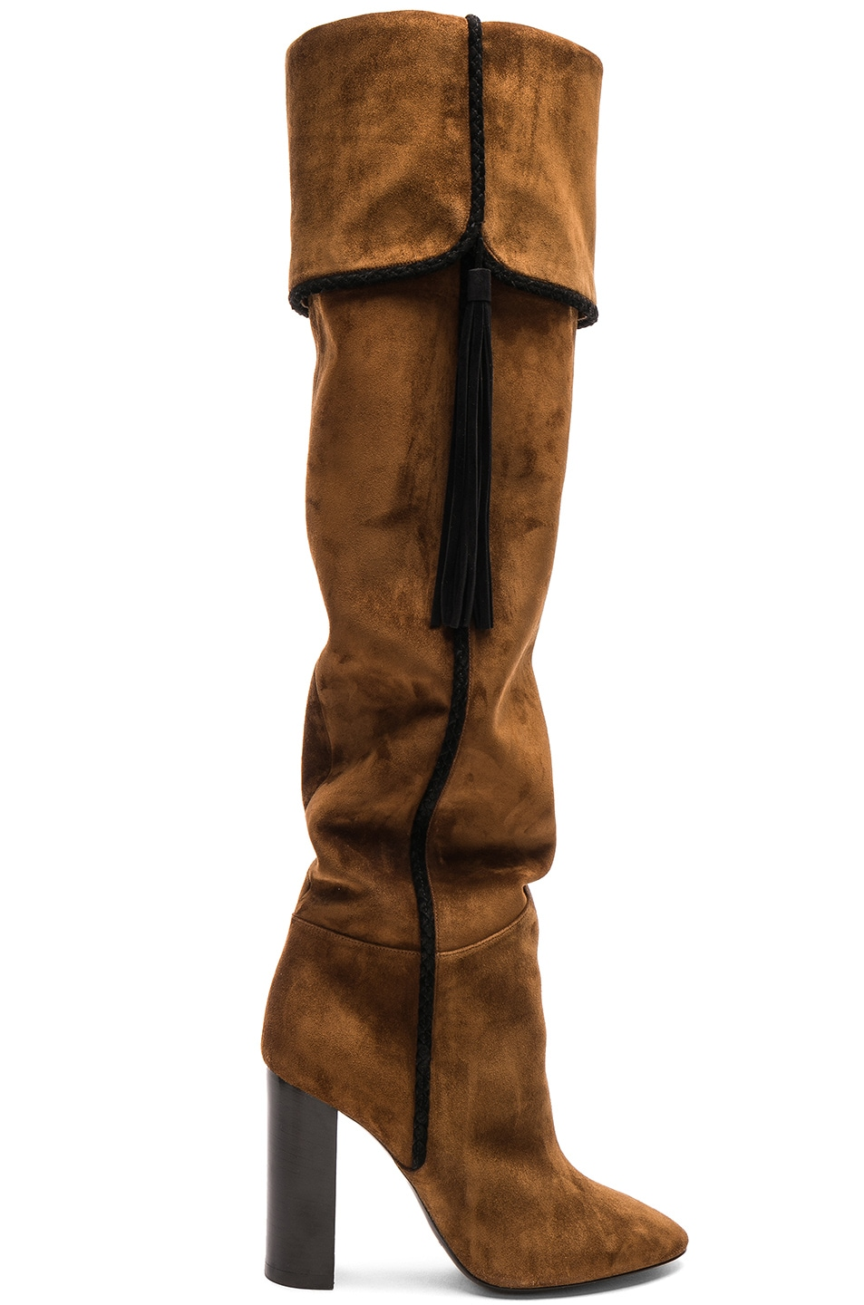 Image 1 of Saint Laurent Suede Meurice Tassel Slouchy Boots in Caramel & Black
