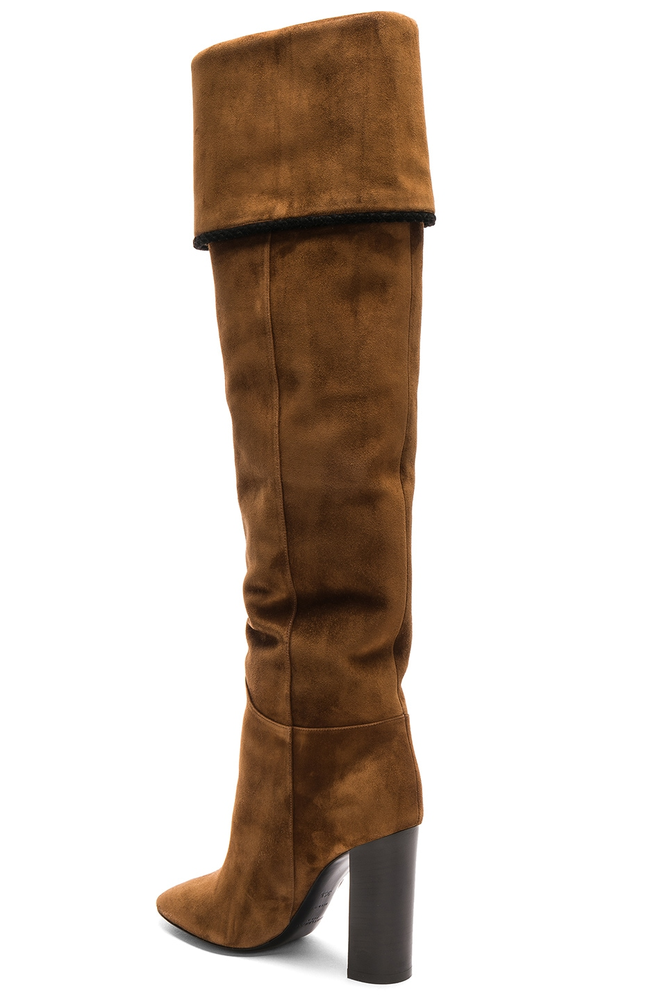 Image 4 of Saint Laurent Suede Meurice Tassel Slouchy Boots in Caramel & Black