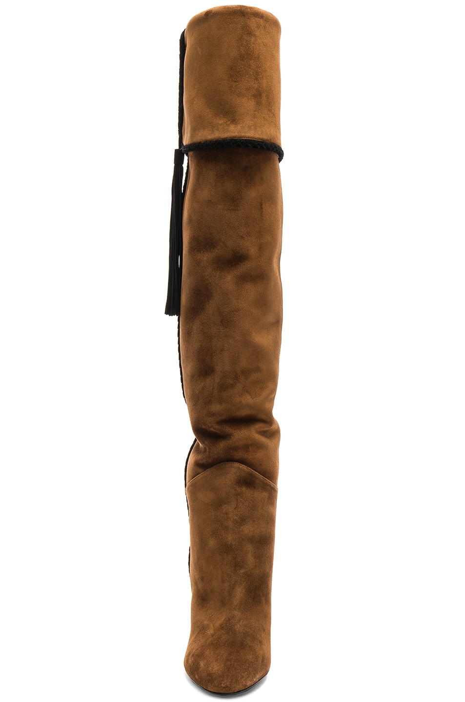Image 5 of Saint Laurent Suede Meurice Tassel Slouchy Boots in Caramel & Black