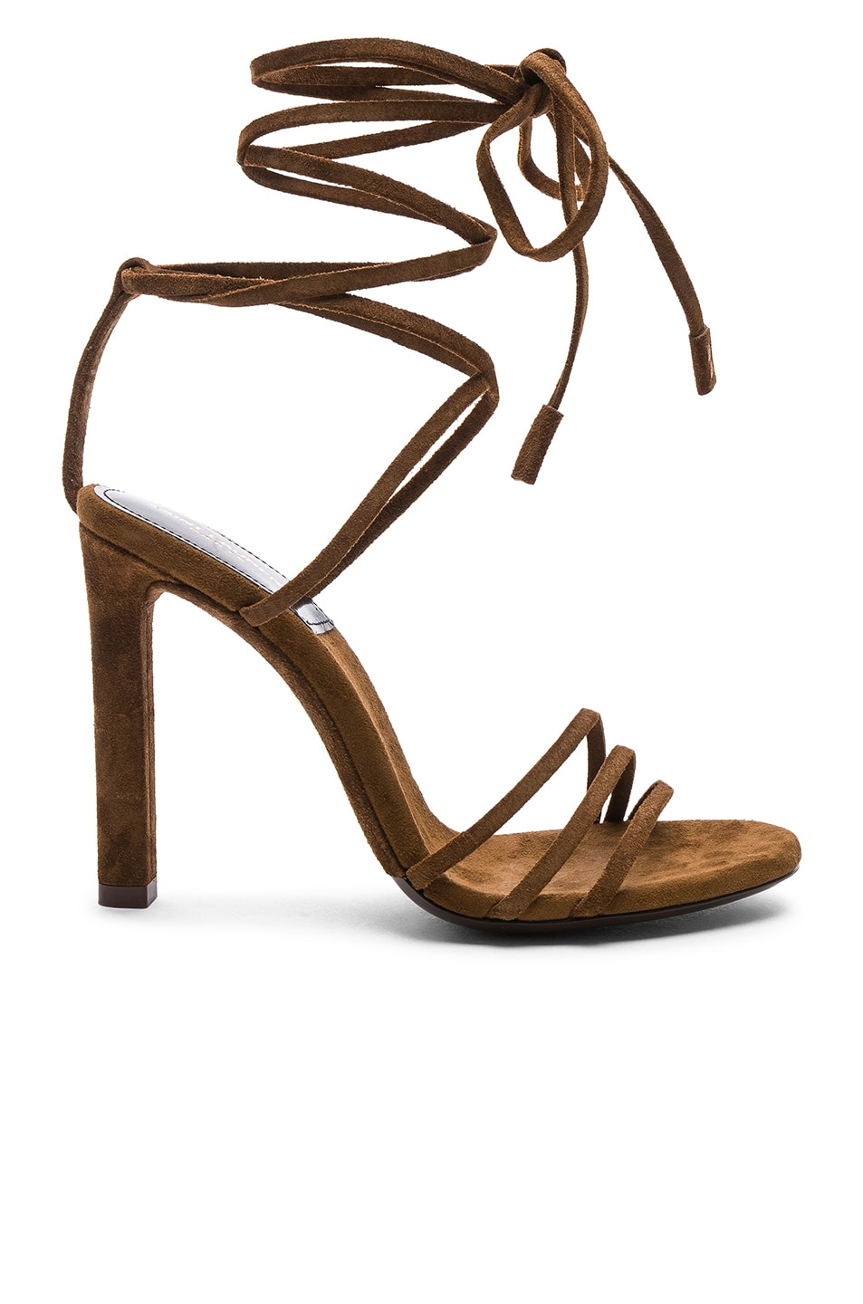 Image 1 of Saint Laurent Suede Kate Strappy Sandals in Caramel