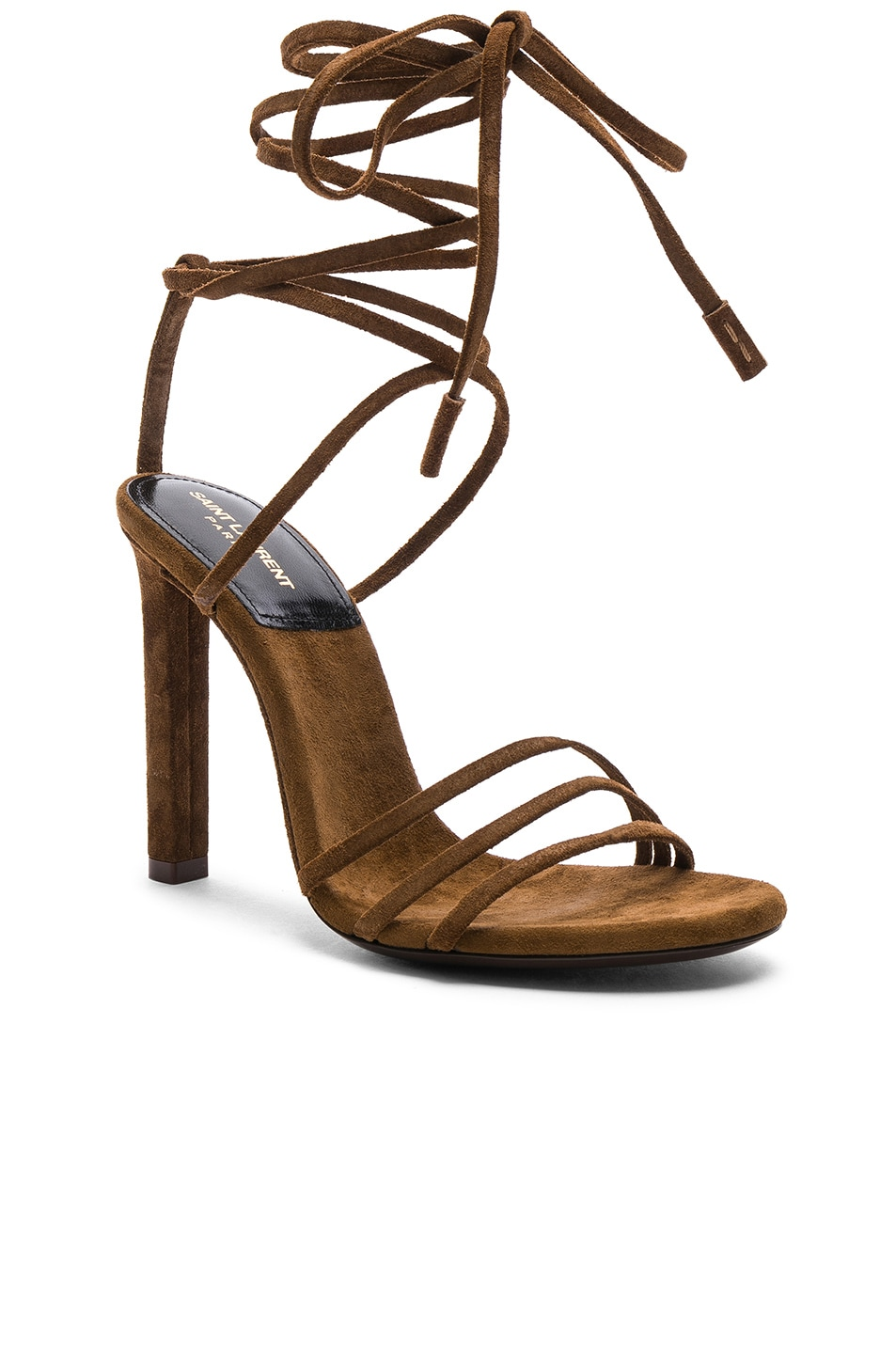 Image 2 of Saint Laurent Suede Kate Strappy Sandals in Caramel