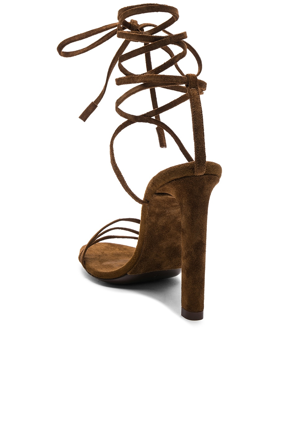 Image 3 of Saint Laurent Suede Kate Strappy Sandals in Caramel