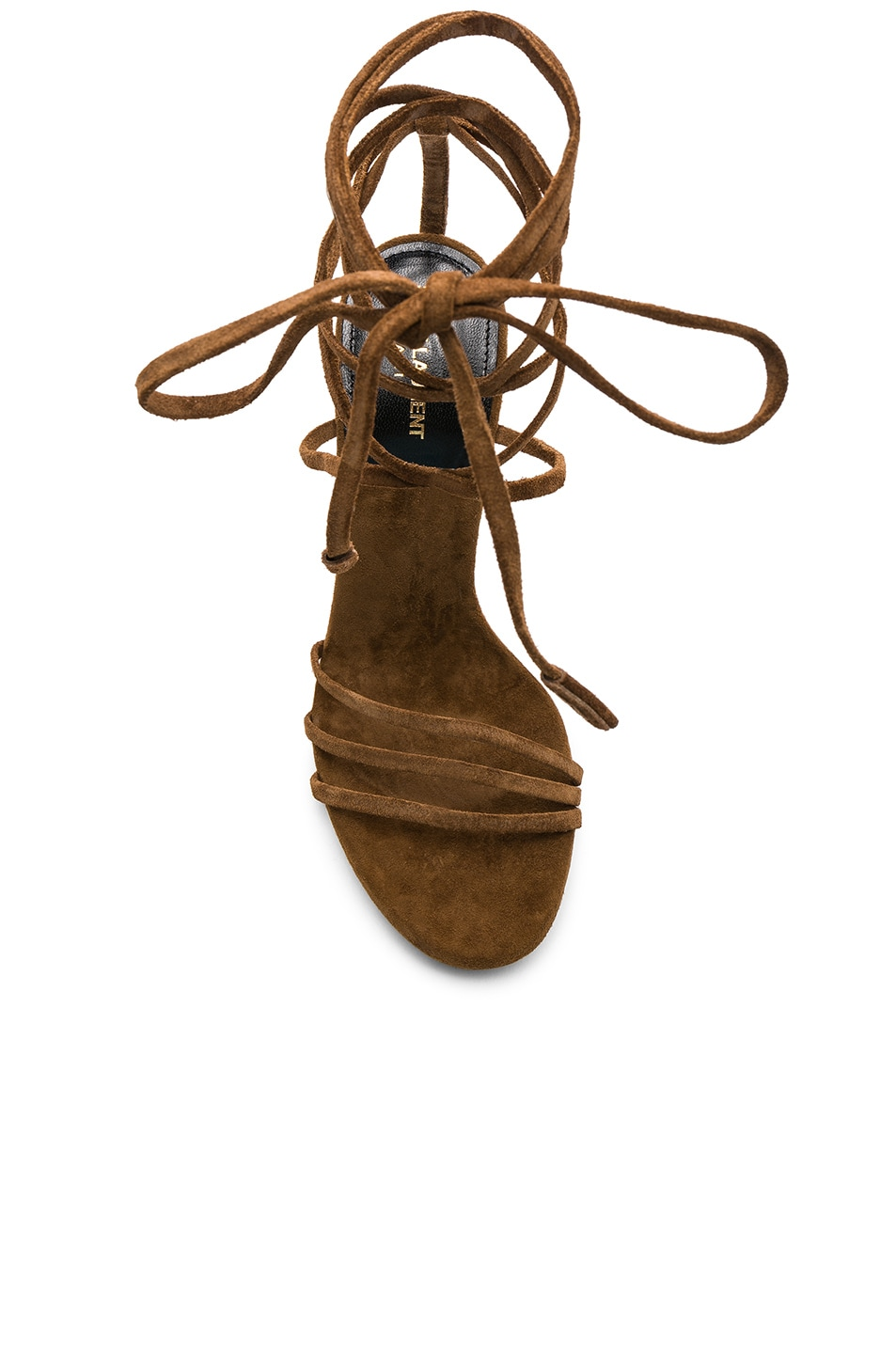 Image 4 of Saint Laurent Suede Kate Strappy Sandals in Caramel