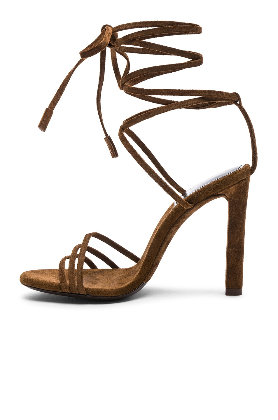 Image 5 of Saint Laurent Suede Kate Strappy Sandals in Caramel