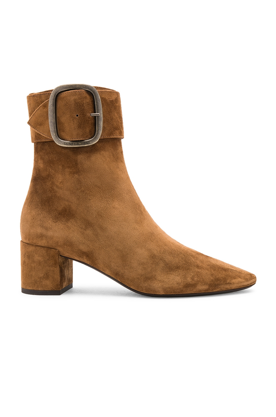 Image 1 of Saint Laurent Suede Joplin Buckle Ankle Boots in Caramel