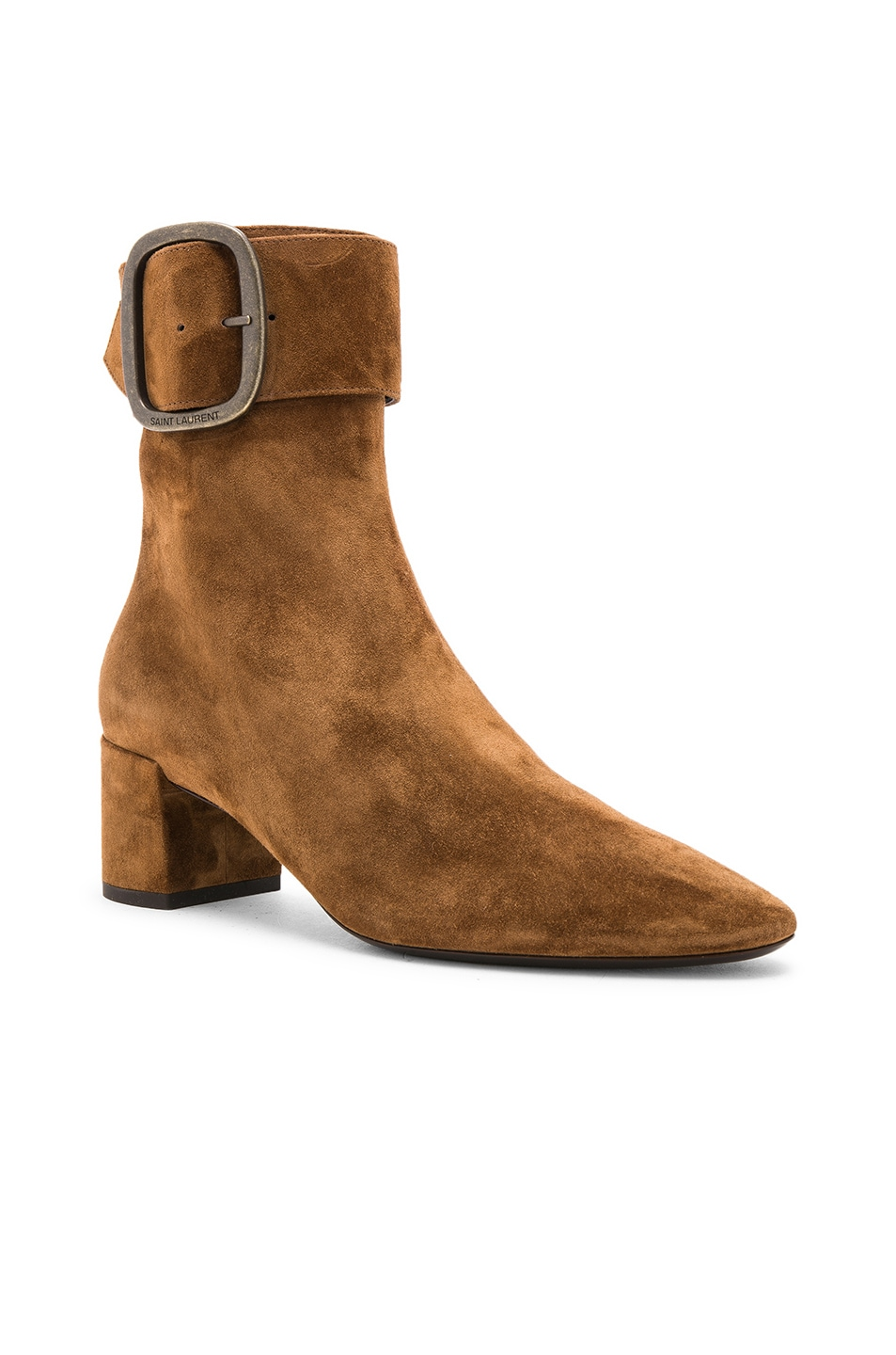 Image 2 of Saint Laurent Suede Joplin Buckle Ankle Boots in Caramel