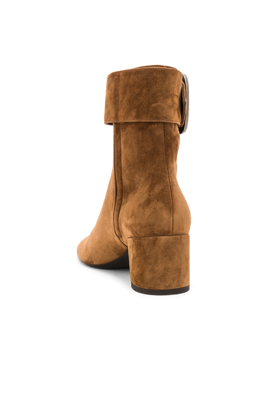 Image 3 of Saint Laurent Suede Joplin Buckle Ankle Boots in Caramel