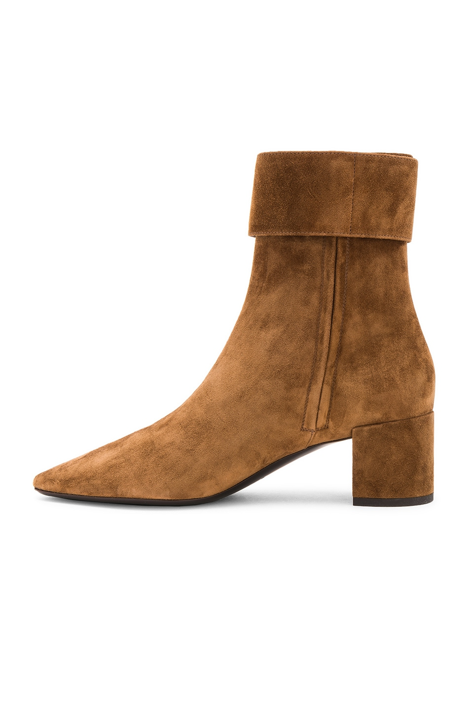 Image 5 of Saint Laurent Suede Joplin Buckle Ankle Boots in Caramel