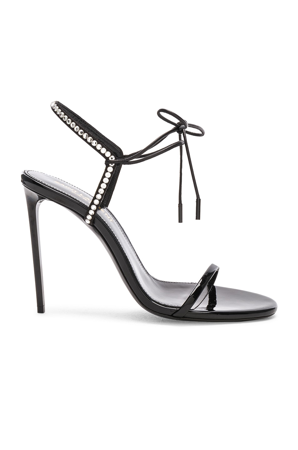 Image 1 of Saint Laurent Crystal Embellished Patent Leather Robin Sandals in Black