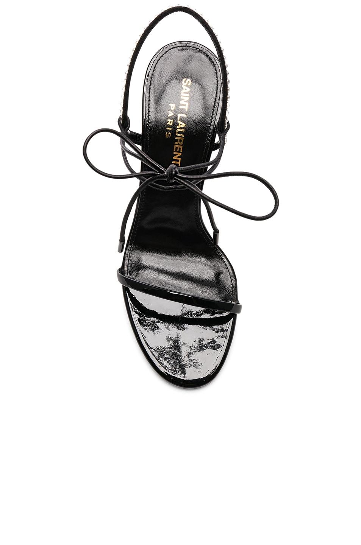 Image 4 of Saint Laurent Crystal Embellished Patent Leather Robin Sandals in Black