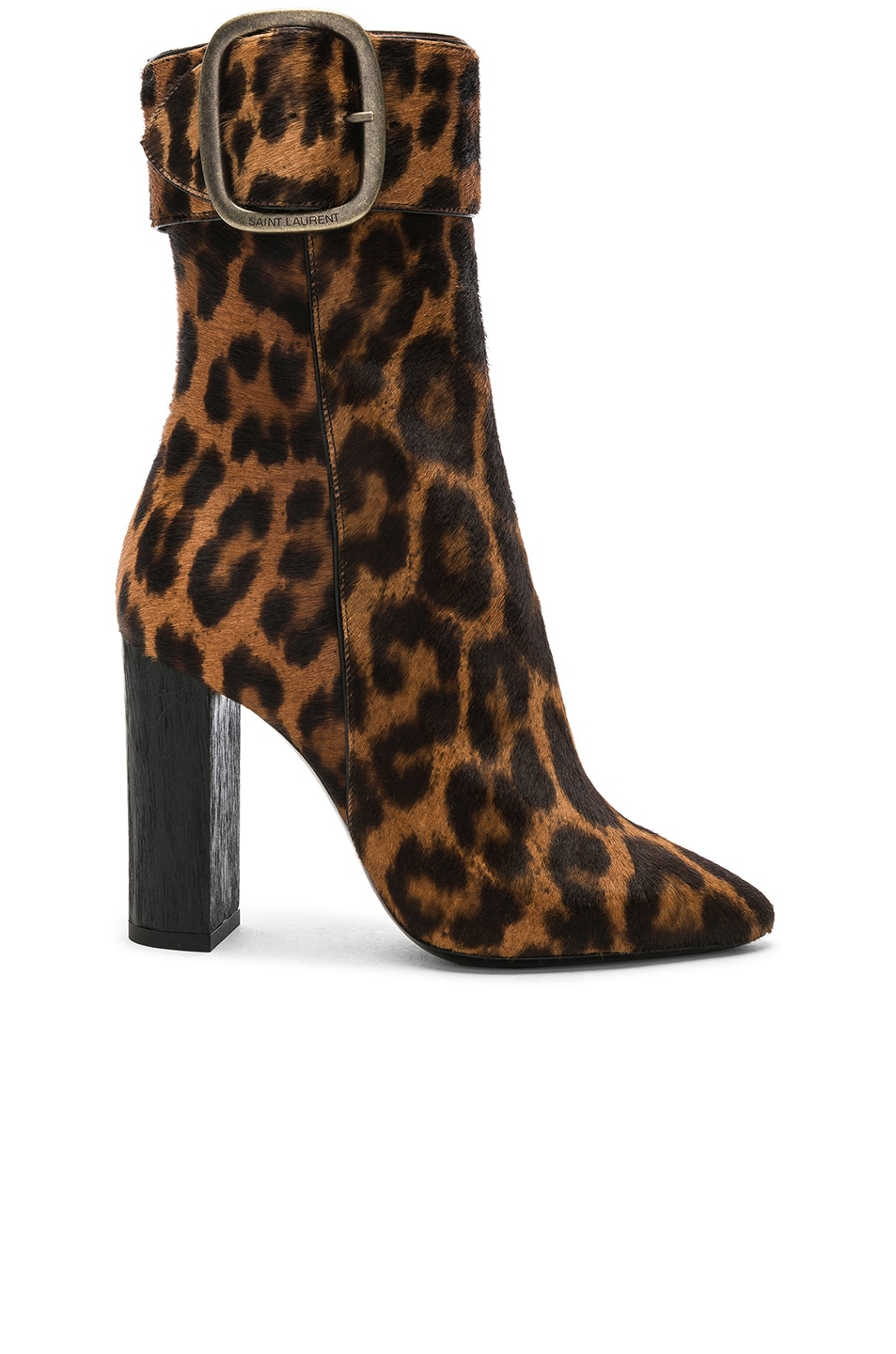 Image 1 of Saint Laurent Leopard Print Pony Hair Joplin Buckle Boots in Natural