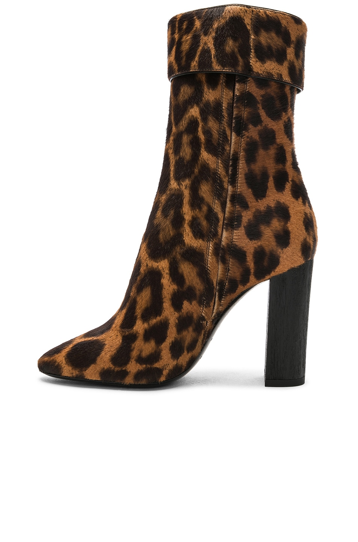 Image 5 of Saint Laurent Leopard Print Pony Hair Joplin Buckle Boots in Natural