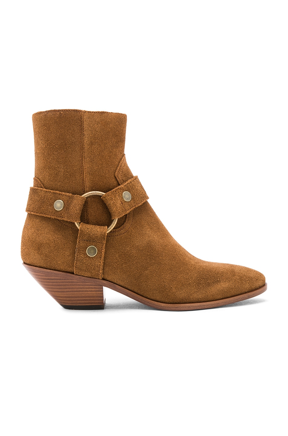 Image 1 of Saint Laurent Suede West Strap Ankle Boots in Hazelnut