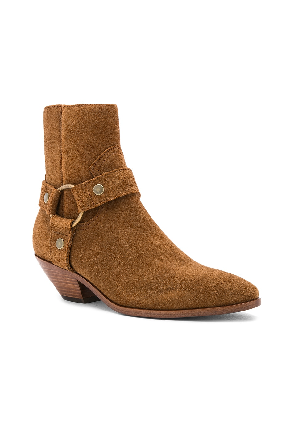 Image 2 of Saint Laurent Suede West Strap Ankle Boots in Hazelnut