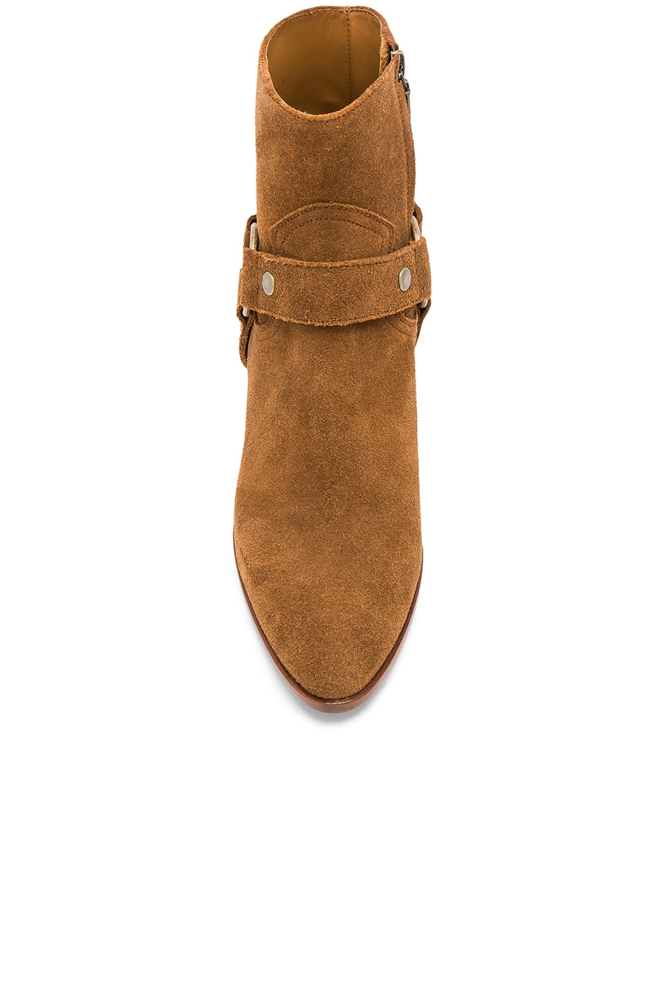 Image 4 of Saint Laurent Suede West Strap Ankle Boots in Hazelnut