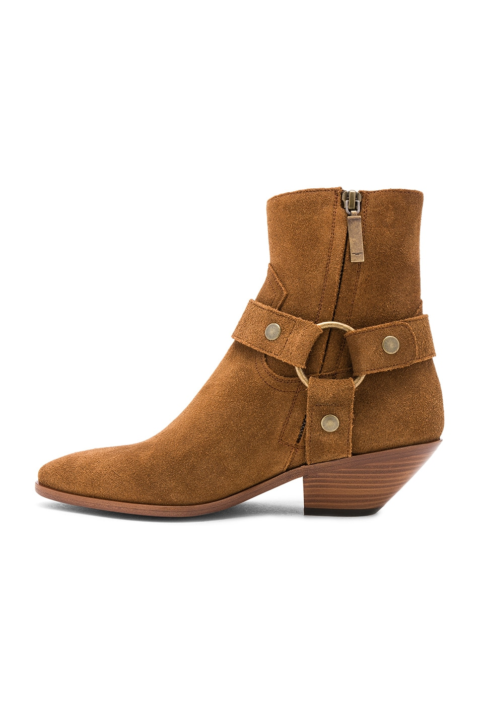 Image 5 of Saint Laurent Suede West Strap Ankle Boots in Hazelnut