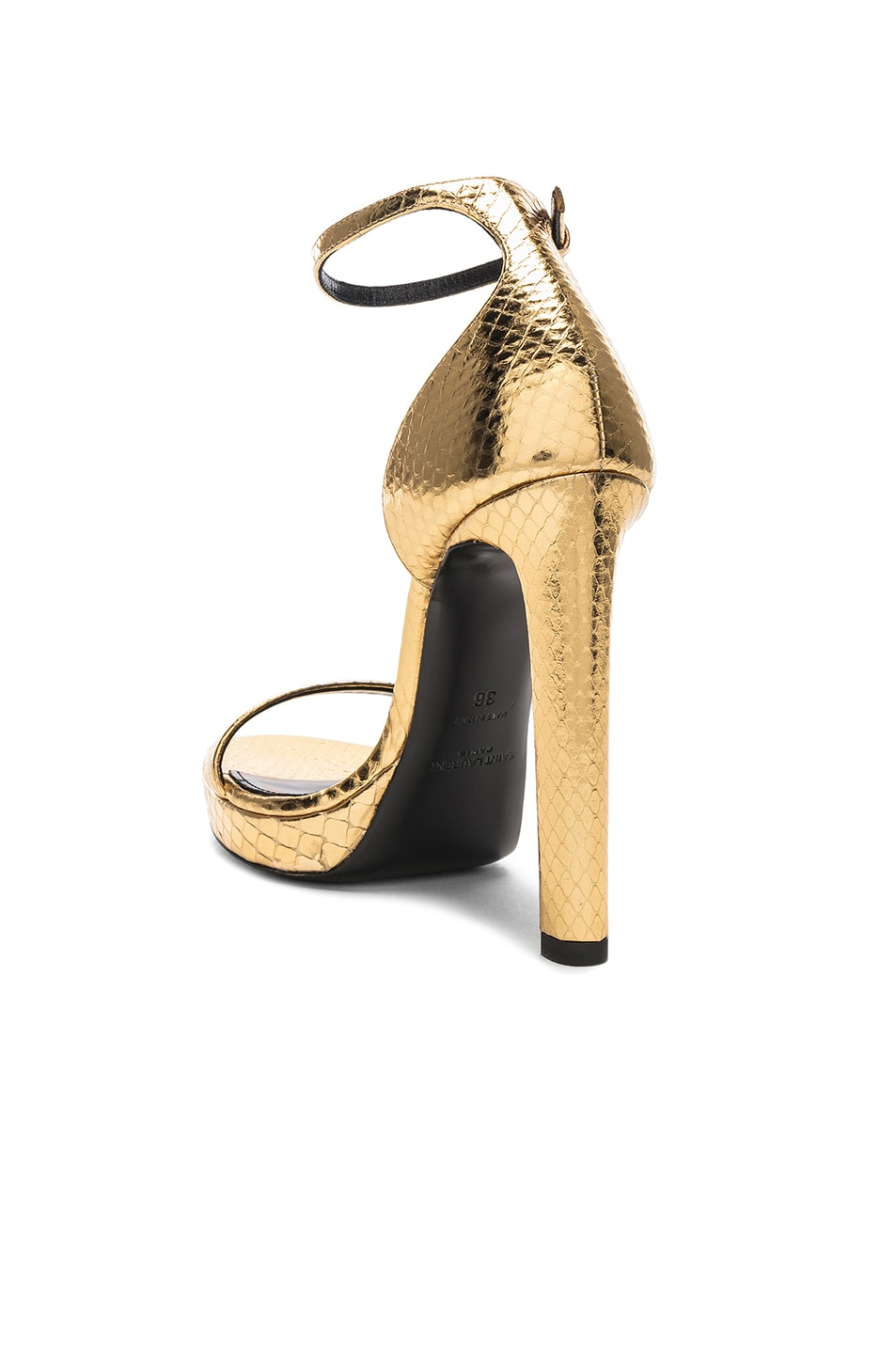 Image 3 of Saint Laurent Hall Ankle High Heels in Gold