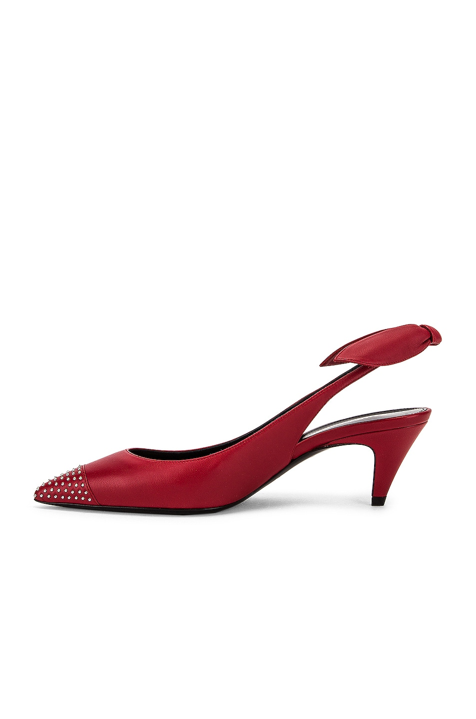 Image 5 of Saint Laurent Charlotte Slingback Stud Kitten Heel in Rouge Eros