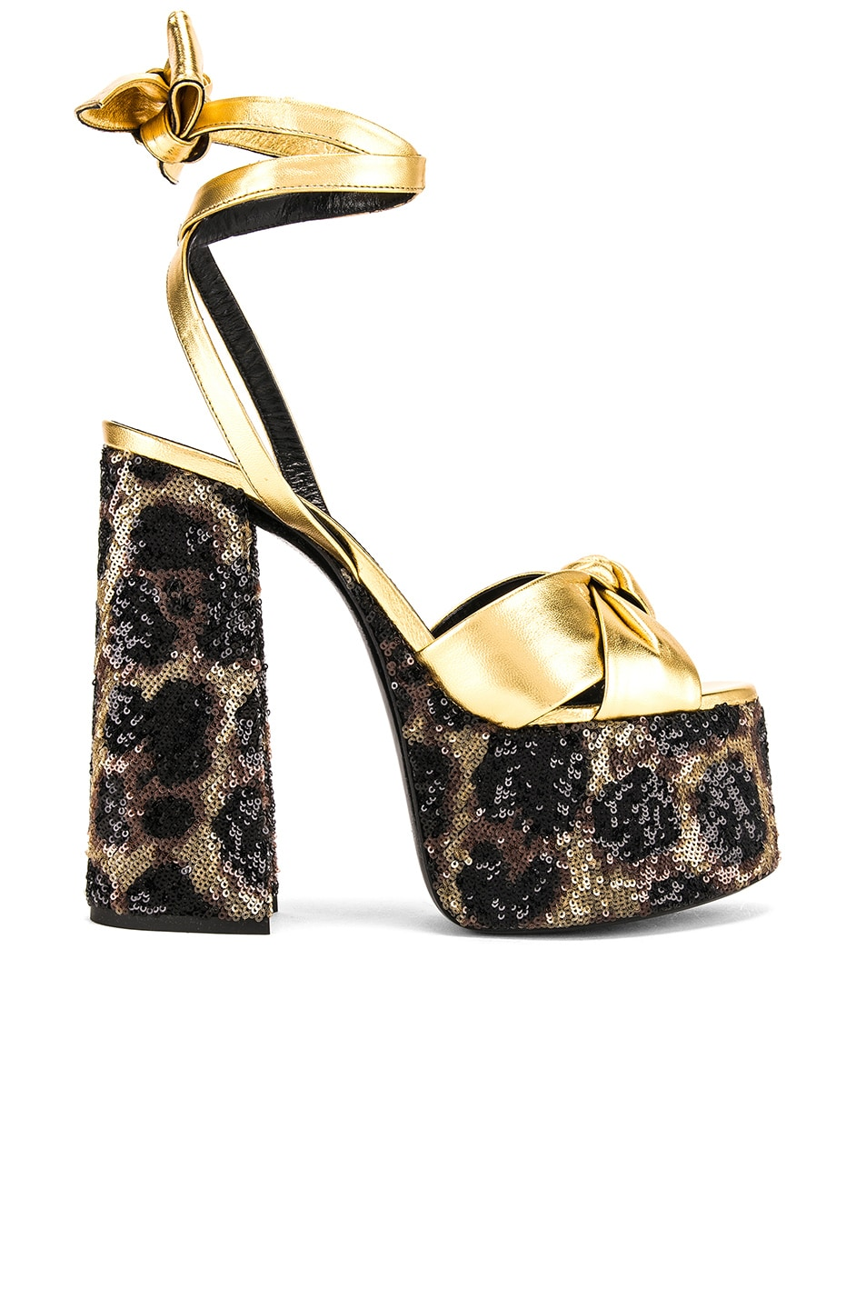 Image 1 of Saint Laurent Leopard Platform Sandal in Natural