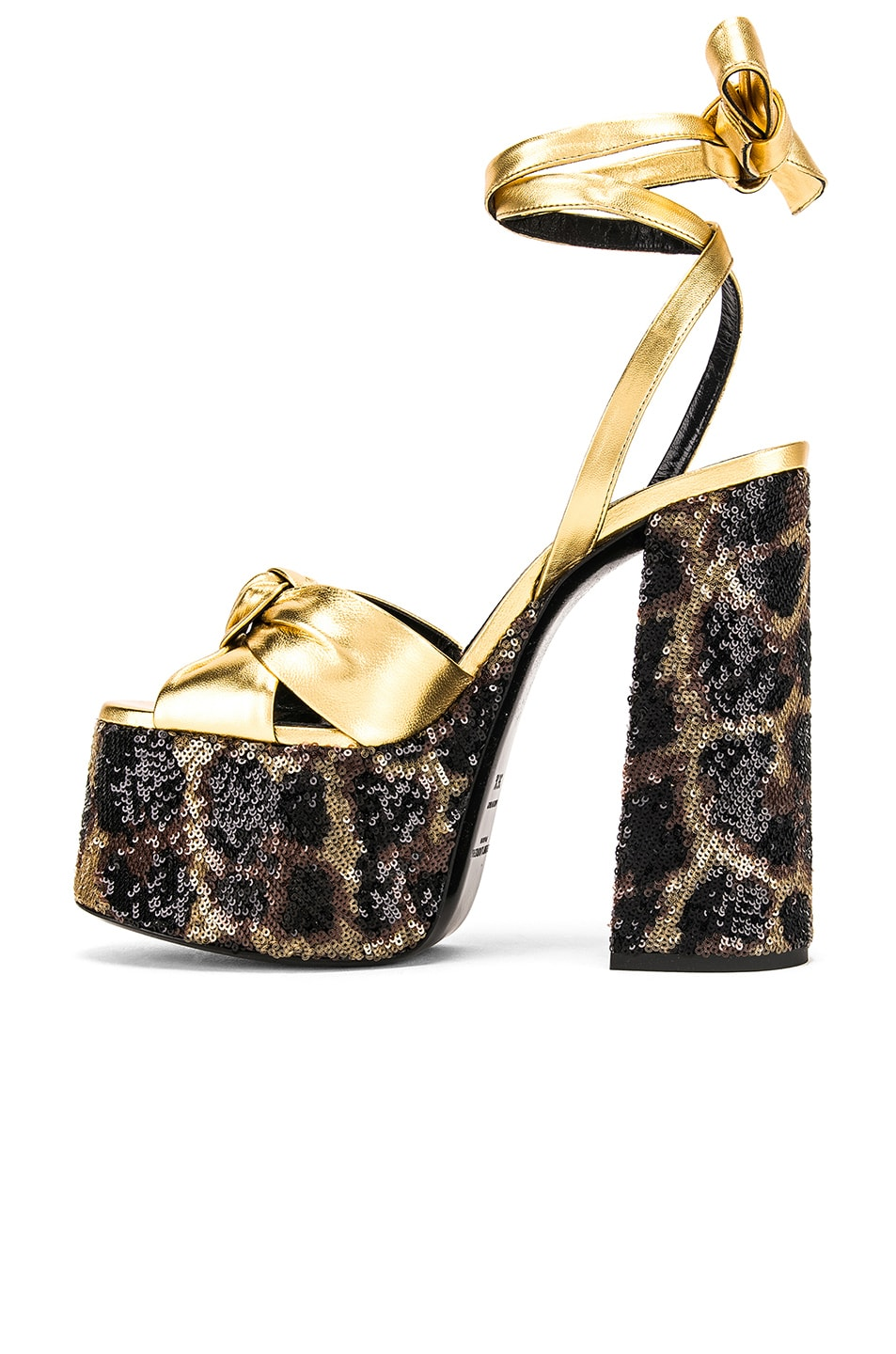 Image 5 of Saint Laurent Leopard Platform Sandal in Natural