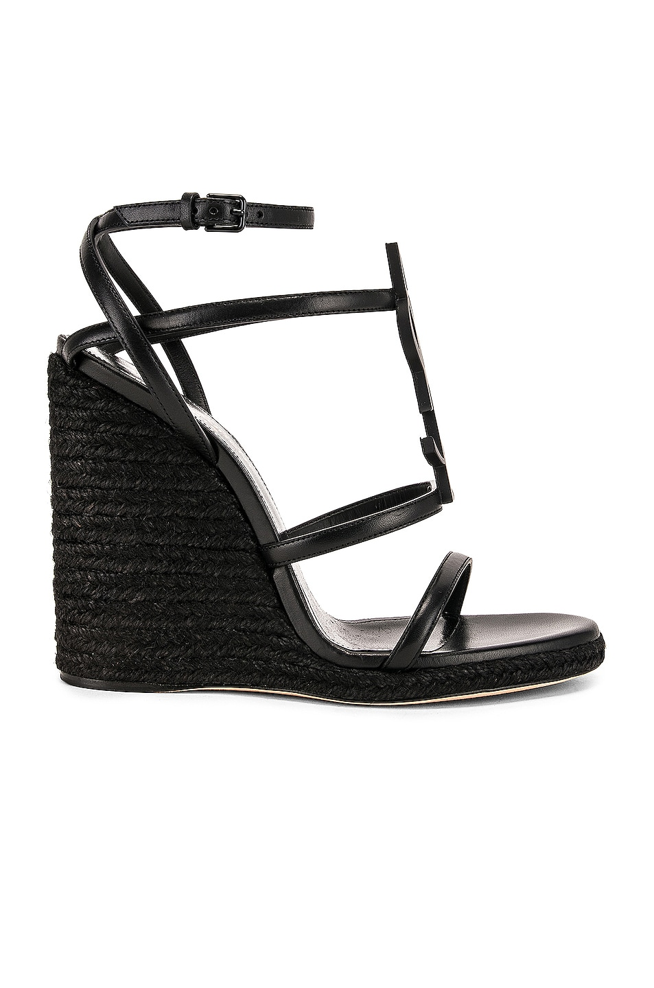 Image 2 of Saint Laurent Cassandra Espadrille Wedge in Black