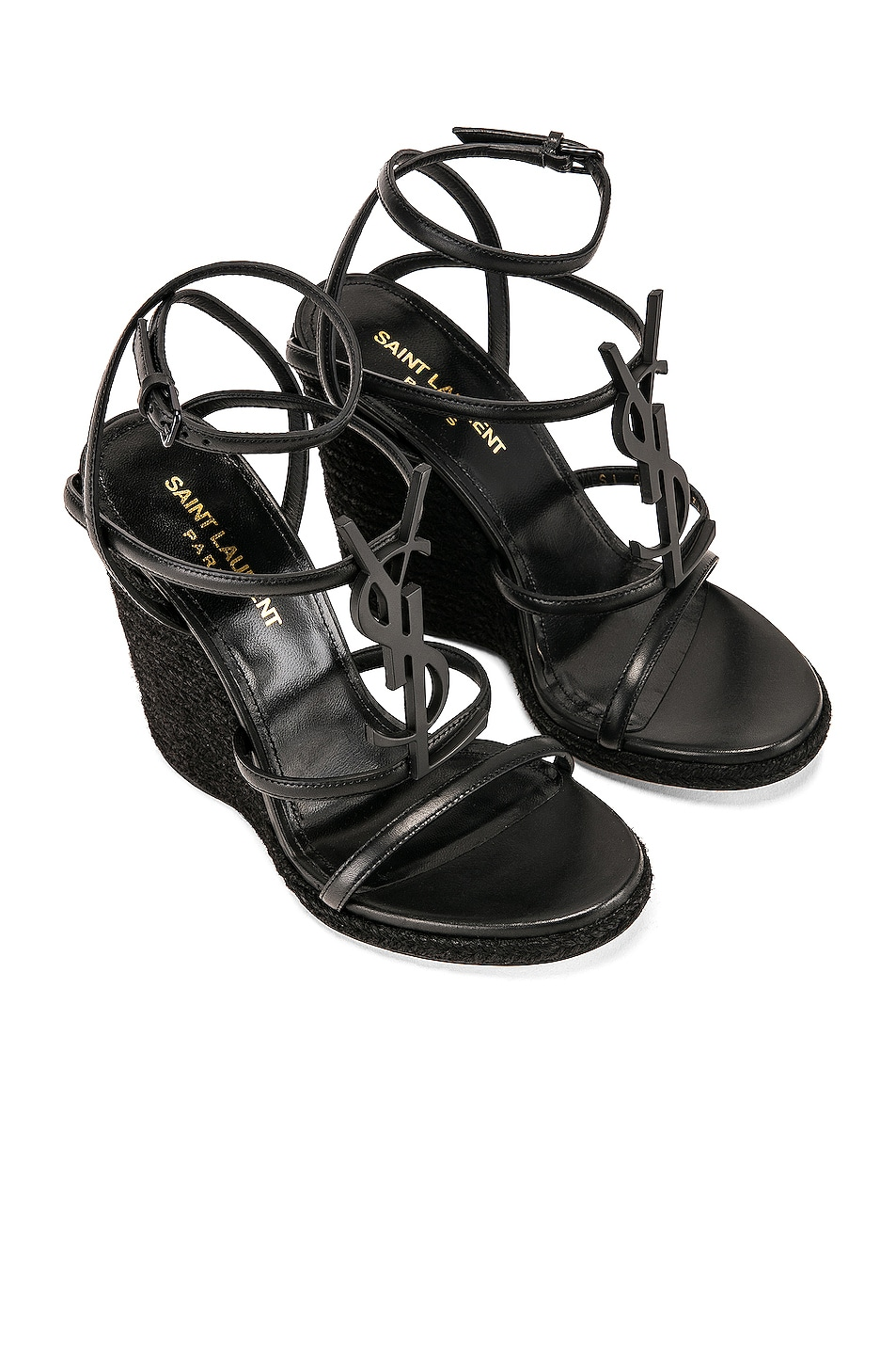 Image 4 of Saint Laurent Cassandra Espadrille Wedge in Black