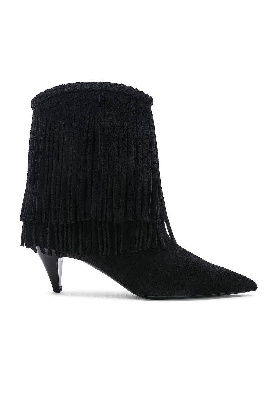 Image 1 of Saint Laurent Charlotte Fringe Booties in Black