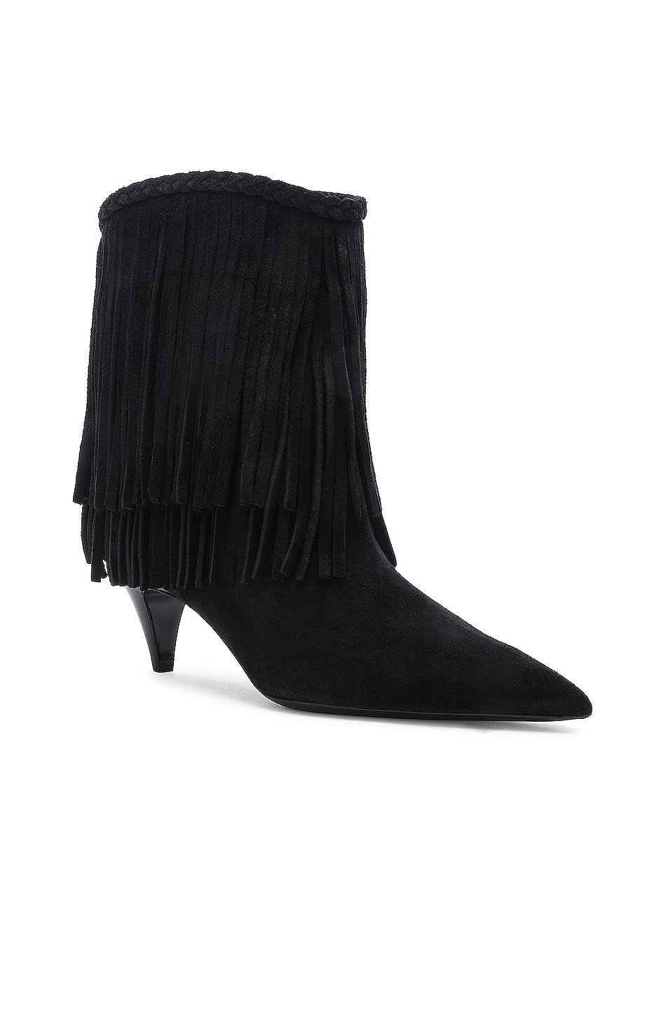 Image 2 of Saint Laurent Charlotte Fringe Booties in Black