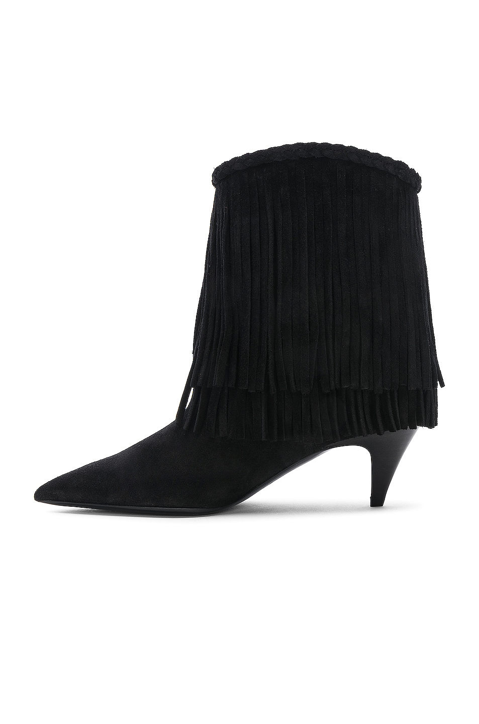 Image 5 of Saint Laurent Charlotte Fringe Booties in Black