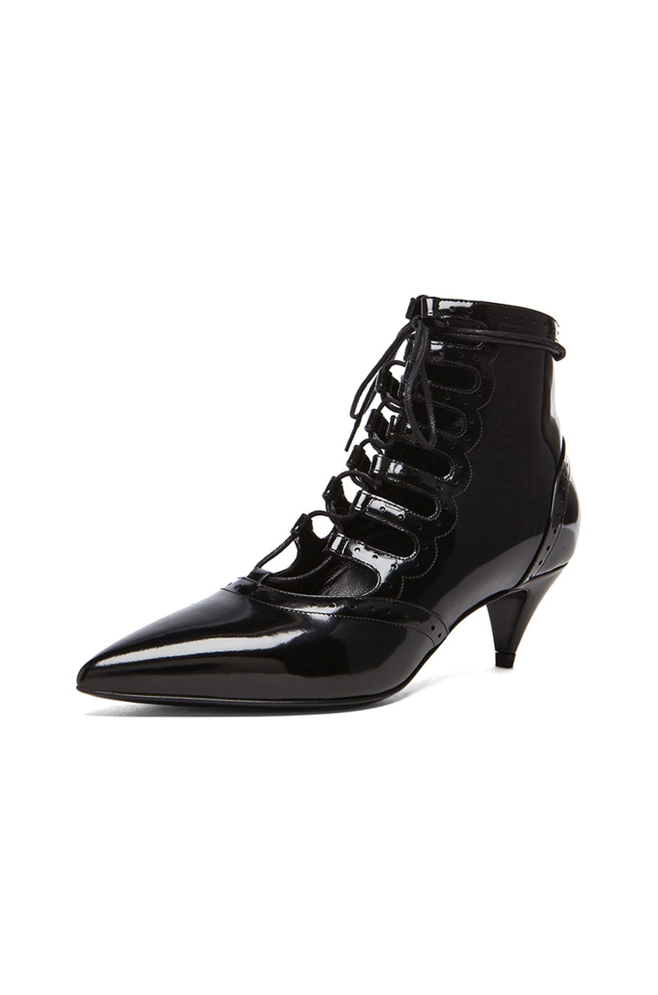 Image 2 of Saint Laurent Lace Up Cat Patent Leather Boots in Black