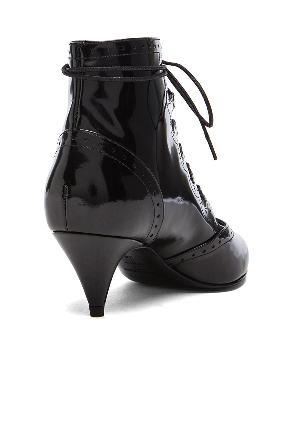Image 3 of Saint Laurent Lace Up Cat Patent Leather Boots in Black